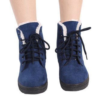 YingWei Snow Boots Martin Boots Korean Factory Outlets Waterproof Ladies Shoes Navy Blue