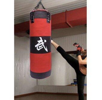 120cm Punch Bag Gym Fitness Punching Bag Boxing Kicking Bag Training (Red Black)