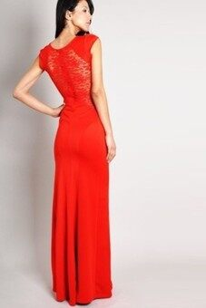 2015 Summer Europe and America New style Lace Women's Side Slit Floor length dress Prom Dress Sexy Sleeveless Dress (Red)
