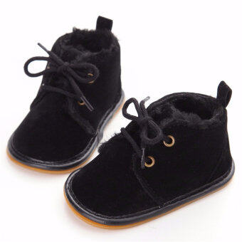 0-18M Baby Boy Shoes Cute Leather Baby Oxford Soft Sole Crib Shoes( Black)