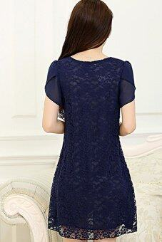 2015 Summer New style Women's Korean X-large Pure color Fashion Lace Short sleeve Dress (Blue)