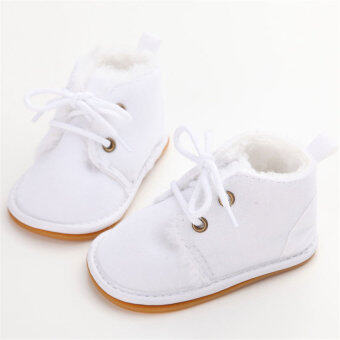 0-18M Baby Boy Shoes Cute Leather Baby Oxford Soft Sole Crib Shoes( White)