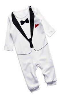 0-2 Y Baby Boy Rompers Wedding Tuxedo Suit Bowtie Bodysuit