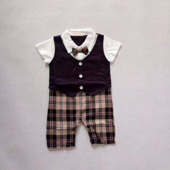 1pcs Baby Boys Infant Gentleman suit bodysuit with tie Rompers Clothes Outfits