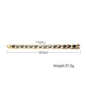 11mm Width Men's Stainless Steel Ceramic Magnetic Health Care Black&Gold Plated Bracelet Bangle