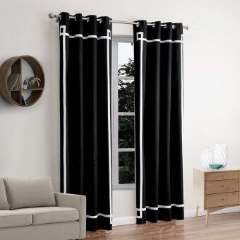 1 Set (2 Panels)Black & White Style Blackout Curtains Eyelet Grommet Curtains Energy-Saving Curtain Pair 52\*84\