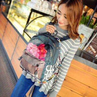 2016 Fashion Flowers Doodle Printed Rucksack Canvas Shoulder Bag Ethnic Style Backpack Travel Bags(26*14*31cm,Green)