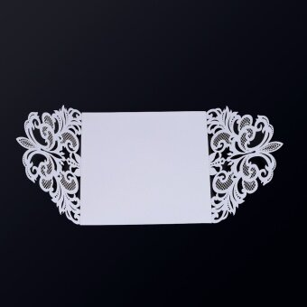 20 pcs White Carved Pattern Invitation Cards with 20 Pcs Inner Sheet & Envelope for Wedding & Party
