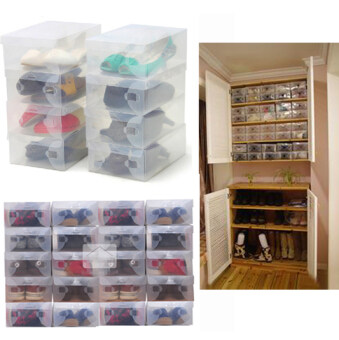 10pc /lot Foldable Plastic Shoe Case Boxes Stackable Tidy Organizer Shoe Holder