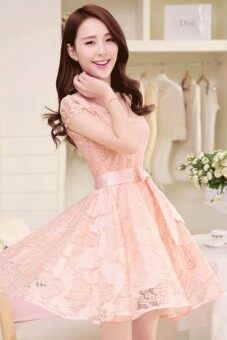 2015 Summer New style Women's Lady Slim-fit Medium style Lace Chiffon Sleeveless Long Dresses (Pink)