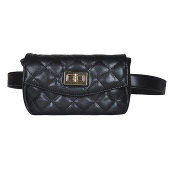 cace89824d EOZY Fashion Women Lady Girl s Classic Waist Bags Korean Style Stylish  Female PU Leather Outdoor Travel Key Money Cellphone Pouch Waist Pack (Black )