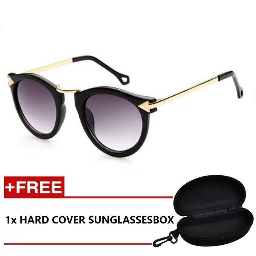 308df960a11 iShade Sunglasses Round Retro Shades Sunglasses with Golden Side Frame  UV400 (Black)
