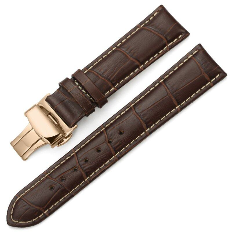 iStrap 12mm Genuine Leather Strap Butterfly Deployment Buckle Watch Band for Rose Gold Cases Brown Malaysia