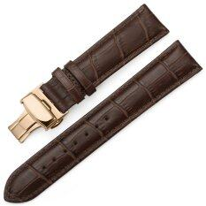 iStrap 13mm Calf Leather Watch Band Strap W/ Rose Gold Steel Push Button Deployment Buckle Brown Malaysia