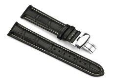 iStrap 19mm Calf Leather Strap Croco Grain Replacement Watch Band for Men With Steel Buckle Black Malaysia