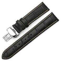 iStrap 20mm Alligator Grain Cow Leather Watch Band Strap W/ Butterfly Deployment Buckle Black 20 Malaysia