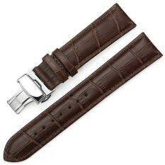 iStrap 22mm Croco Calf Leather Replacement Watch Band Strap w/ Push Button Deployment Clasp Brown Malaysia