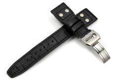 iStrap 22mm Embossed Alligator Grain Calf Leather Watch Band Rivet Strap & Steel Deployment Clasp fit IWC Big Pilot - Black Malaysia
