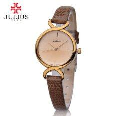 (100% Authentic) Julius Korean Fashion Model Classic BROWN Leather Strap Water Resistant Stainless Steel Back Watch JA-694E Malaysia