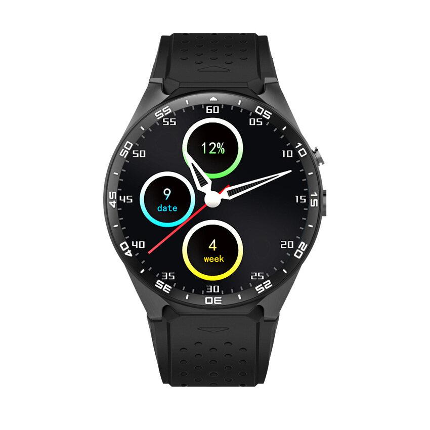 Kingwear KW88 3G WCDMA Smartwatch Ponsel 1.39 Inch UHD AMOLED Fullround Layar MTK6580 Quad-Core 1.3 GHz CPU ROM 4 GB + RAM 512 Mbandroid 5.1 OS 2.0MP Kamera Pedometer Denyut Jantung Smartwatch untuk iPhone