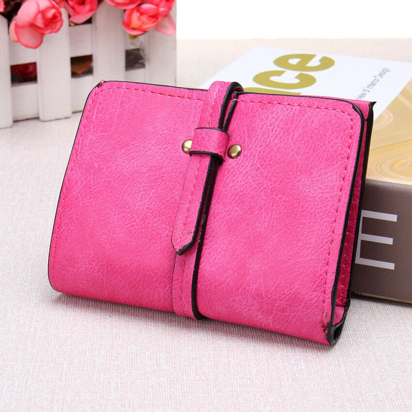 Lady Women Fashion Purse Clutch Wallet Short Coin Bag PU LeatherCard Holder HOT Rose Red