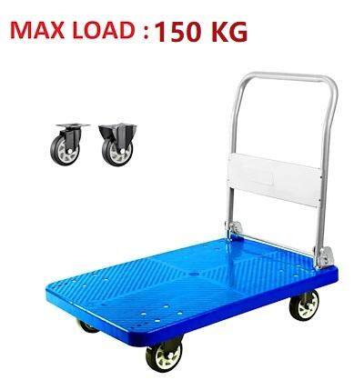 150kg Foldable PVC Platform Hand Truck Folding Trolley With 4 Silent PU Wheels