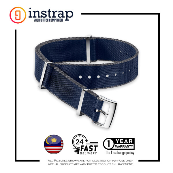 [20mm] Instrap Premium Nato Strap Watch Band with Brushed Buckle (NavyBlueGreyBorder) Malaysia