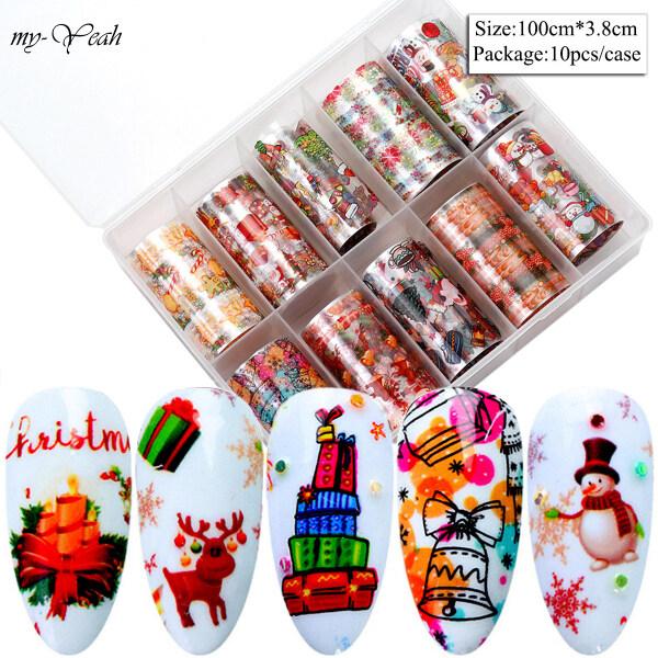 Hộp 10 cuộn dán móng tay Myyeah nhiều hình dáng theo phong cách giáng sinh dùng để tự trang trí móng tay tại nhà (kích thước mỗi cuộn 100*3.8cm) - INTL giá rẻ