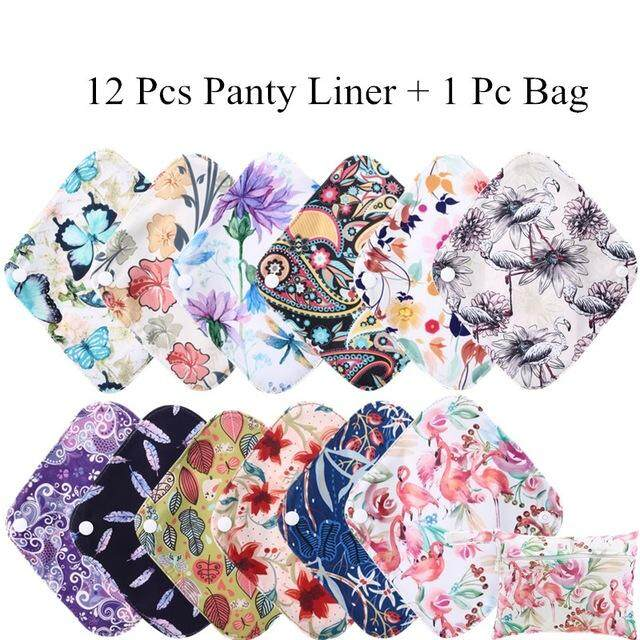 [simfamily] 12+1 Panty Liner Sets Reusable Waterproof Bamboo Charcoal Menstrual Cloth Sanitary By Simfamily4u Store.