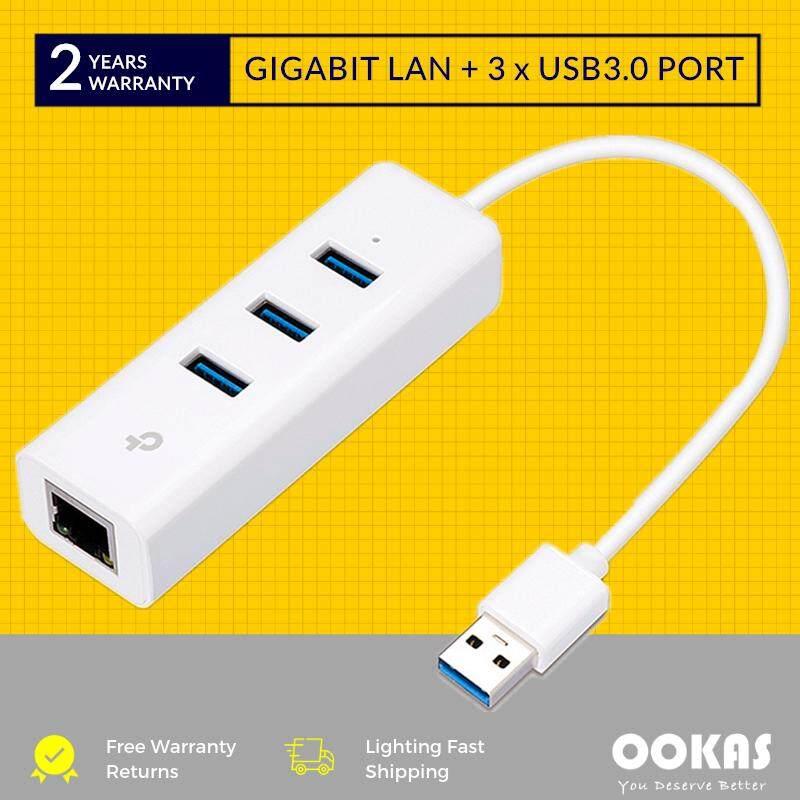 Tp-Link Ue330 Gigabit Ethernet Lan Converter + 3 Usb 3.0 Hub Adapter By Ookas.