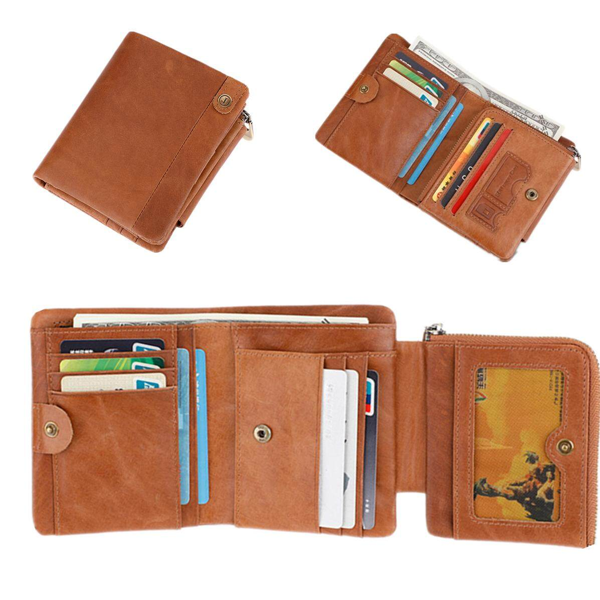 Mens Purse Genuine Leather Purse For Men RFID Credit Card Holder Zipper&Hasp Male Wallet With Coin Pocket