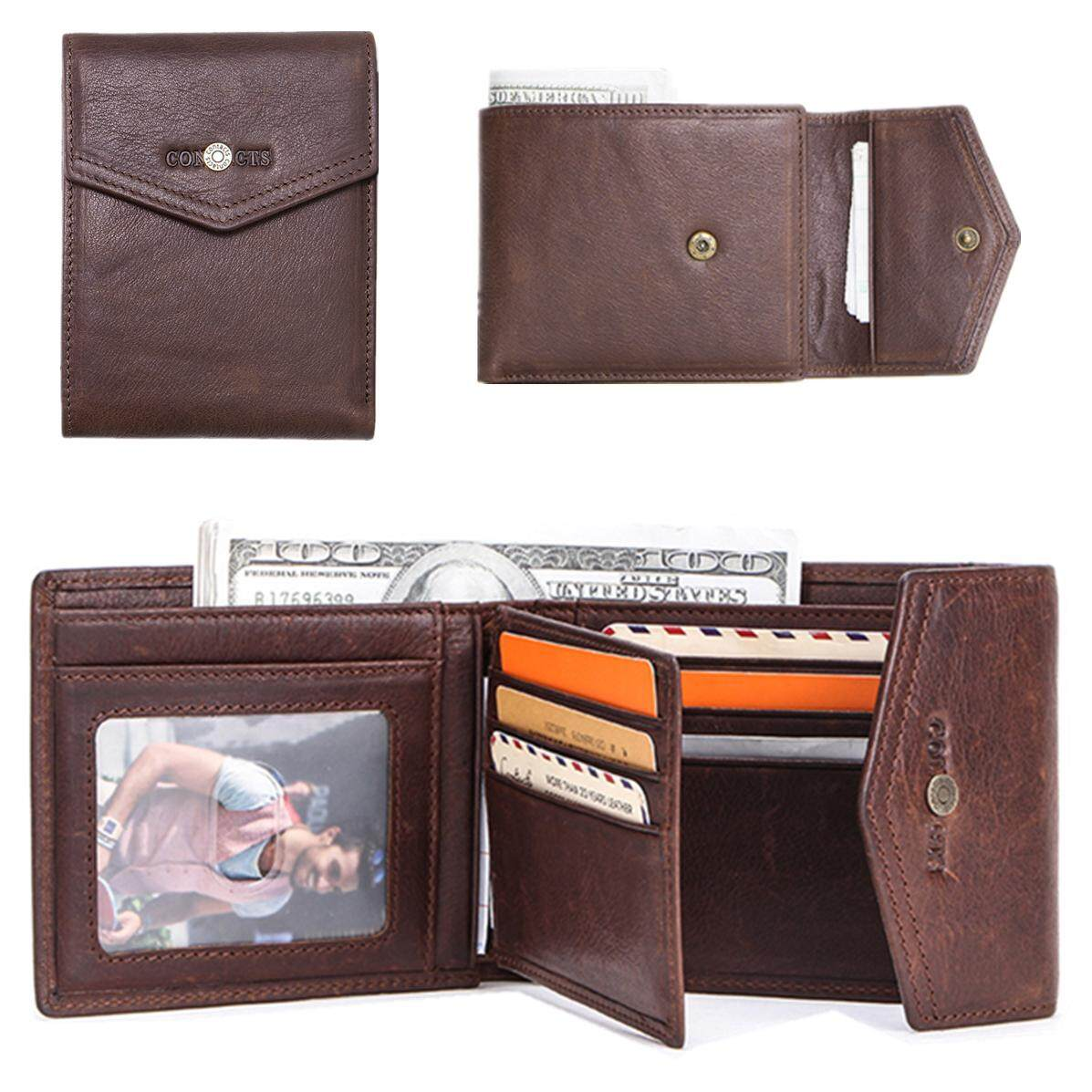 CONTACTS Crazy Horse Leather Men Wallet with Coin Pocket Hasp Money Bag Horizontal Vintage Short Wallet for Business Male