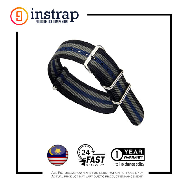 [20mm] Instrap Nato Strap Signature Classic Watch Band Silver Buckle (BlackGreyBlue) Malaysia
