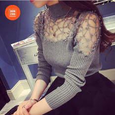 Áo nữ dài tay phối ren và chất liệu dệt kim nữ tính phong cách thời trang DONGZHU