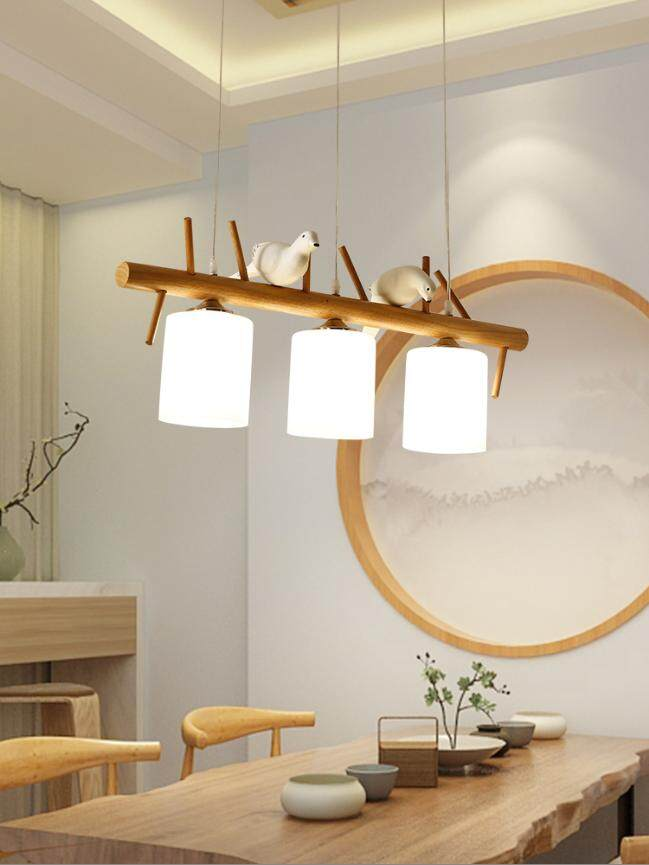 Nordic style modern minimalist creative three-head glass chandelier dining room dining room lamp celling lighting