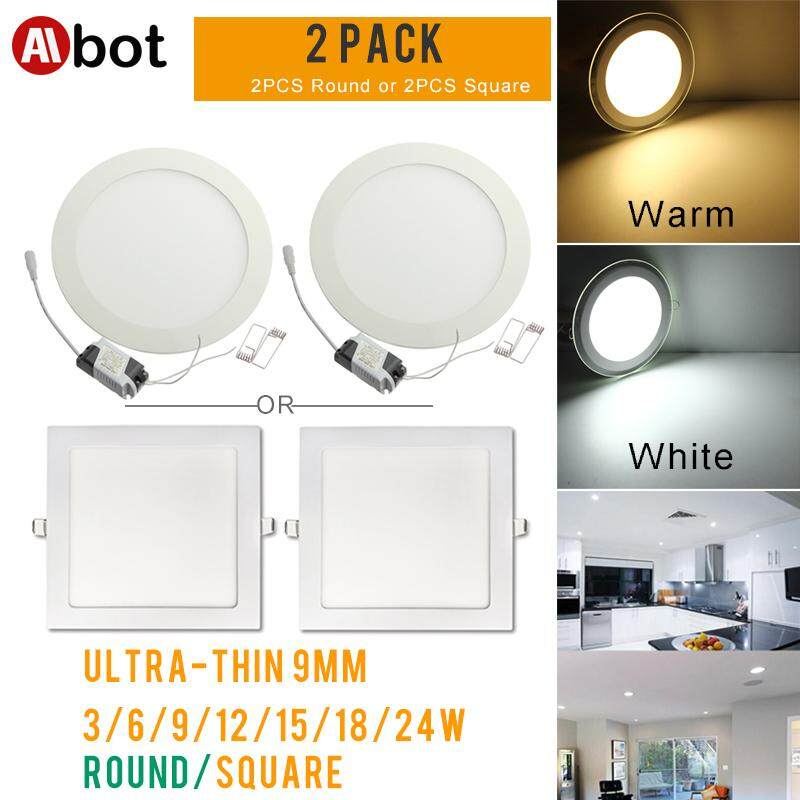 2PCS Ultra Thin Led Panel Downlight 3w 6w 9w 12w 15w 18w 24W Round/Square LED Ceiling Recessed Light AC85-265V LED Panel Light