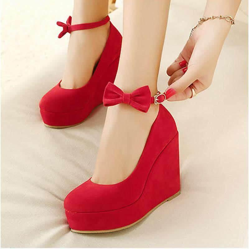 Áo CướI Đỏ Da Lộn Gót cao: 11 cm (4.4 inch)❤Đen/Đỏ