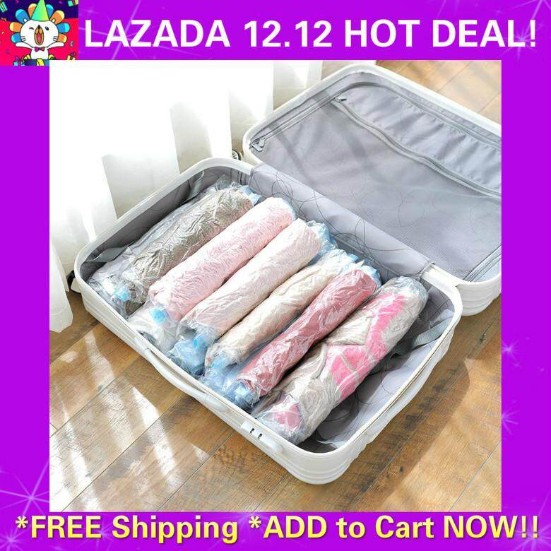 [Free Shipping] READY STOCK Travel Organizers 9PCS Handroll Vacuum Compression Storage Bags (Transparent)
