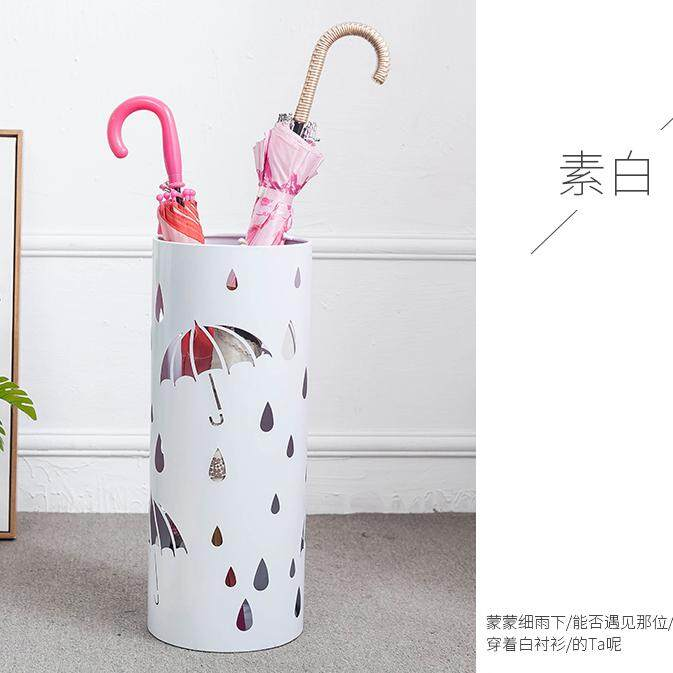 European Household Wrought Iron Umbrella Stand Storage Barrel Laser Cutting Pattern Style