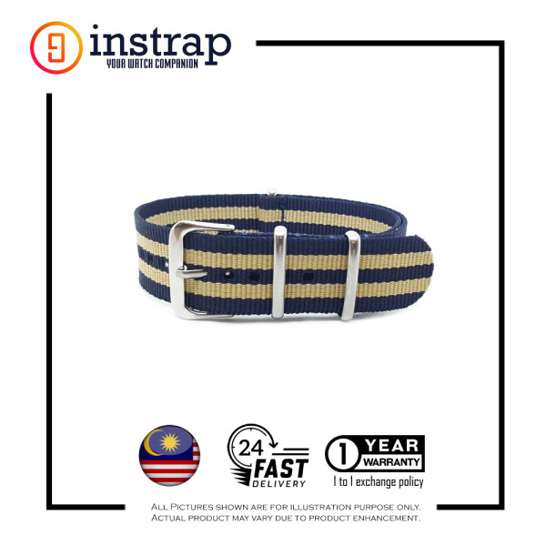 [18mm] Instrap Nato Strap Signature Classic Watch Band Silver Buckle (BlueBiege) Malaysia