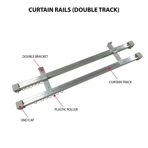 Aluminium Curtain Rail Double Track. (Colour-Aluminium Mill Finish) MF [Wall Mounted]
