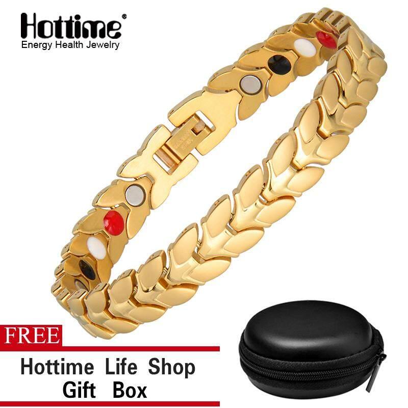 Hottime Fashion Golden 316L Baja Anti Karat Gelang Energi Kesehatan Gelang Magnetik & Gelang untuk Wanita
