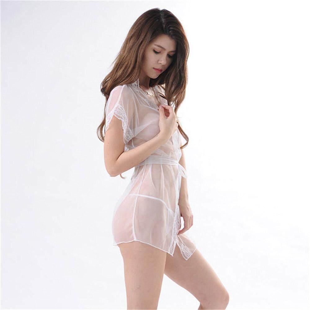 769310fea2900 Women Lace Transparent Underwear Babydoll Sleepwear Lace Bra Dress G-string  Set White Sexy Lingerie