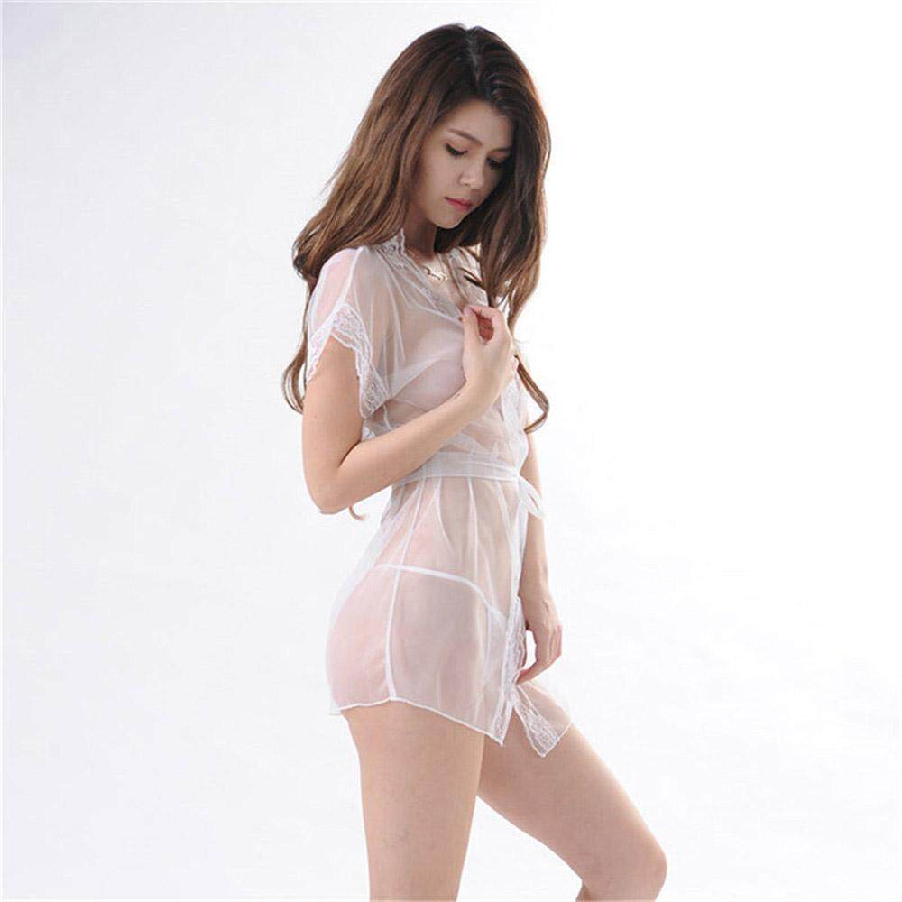 20e6d6cf9fab Women Lace Transparent Underwear Babydoll Sleepwear Lace Bra Dress G-string  Set White Sexy Lingerie