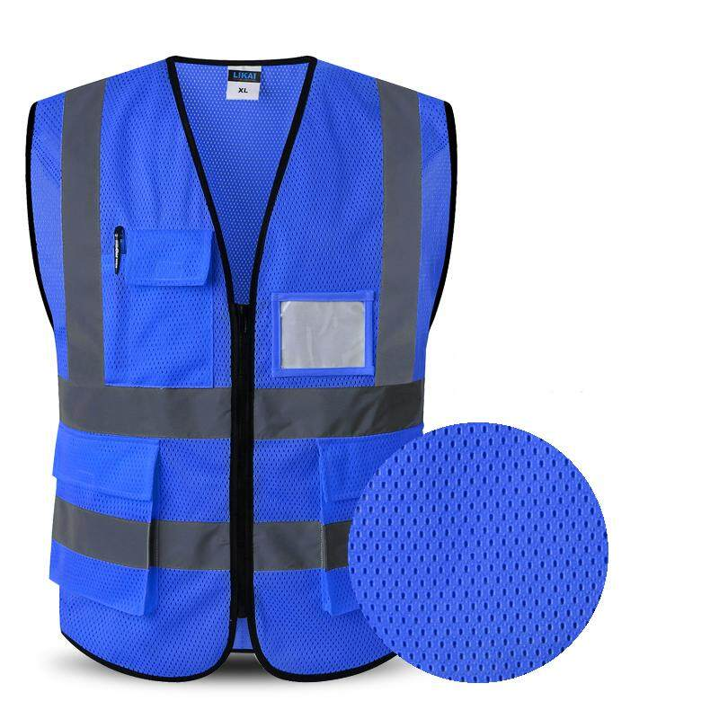 Safety Vest Refective Safty Waistcoat High Visibility Summer Vest Polyester Breathable Mesh Fabbic Mens Tops