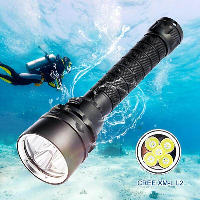 25000 Lumens Diving For Flashlight Torch 5*L2 Scuba Dive torch 100M Underwater Waterproof Tactical