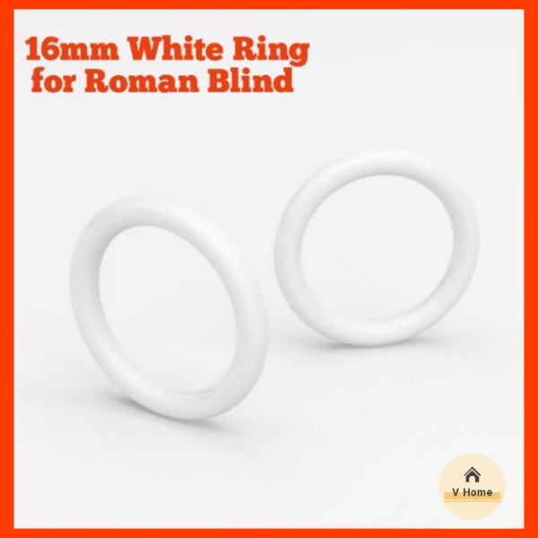 VHOME READY STOCK White Plastic Rings for Roman Blinds O Ring 16mm – Curtain Blinds Accessories / Aksesori Langsir