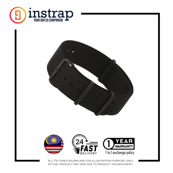 [20mm] Instrap Nato Strap Signature Classic Watch Band PVD Black Buckle (Black) Malaysia