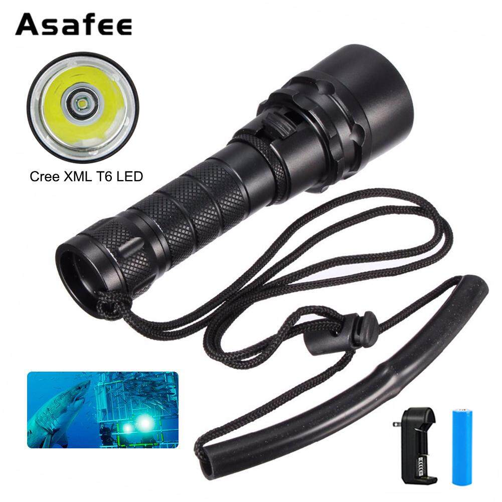 Underwater 100M 2500LM XM-L T6 Mini LED Diving Flashlight With 18650 Battery and Charger