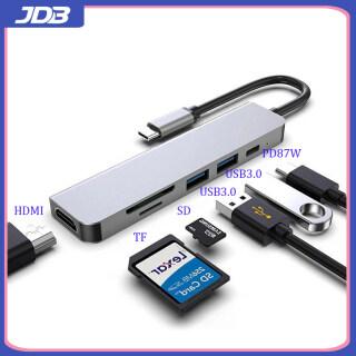 JDB Bộ Chuyển Đổi Hub USB C 6 Trong 1 Mới, Dock USB 3.0 Kép, HDMI, PD87W Sạc Nhanh, Hỗ Trợ Hầu Hết Các Máy Tính Xách Tay thumbnail